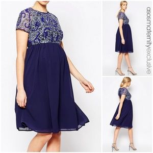 ASOS Maternity 6 Blue Embellished Midi Dress